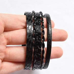 NEW 5 High Quality / Hefty Black Metal Bangles set